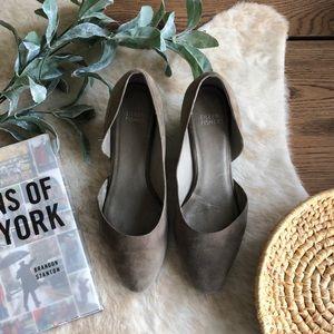 Eileen Fisher gray suede leather heels